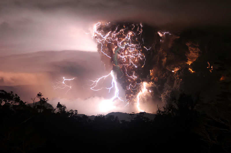 Volcano eruption in a lighting storm, Chile