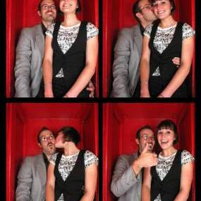 Luke and Kristen at STRIKE bowling alley - Photobooth, Take 1
