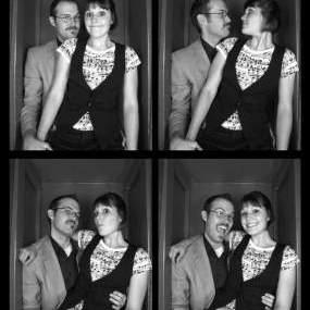 Luke and Kristen at STRIKE bowling alley - Photobooth, Take 2