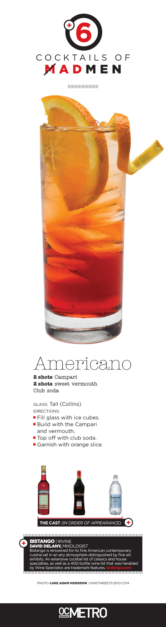 Americano Recipe classic cocktail recipe made with campari, sweet vermouth and club soda by Bistango in Irvine, CA. OC Register Metro #magazine Mad Men inspired cover story | #photo by Luke Adam Hodsdon