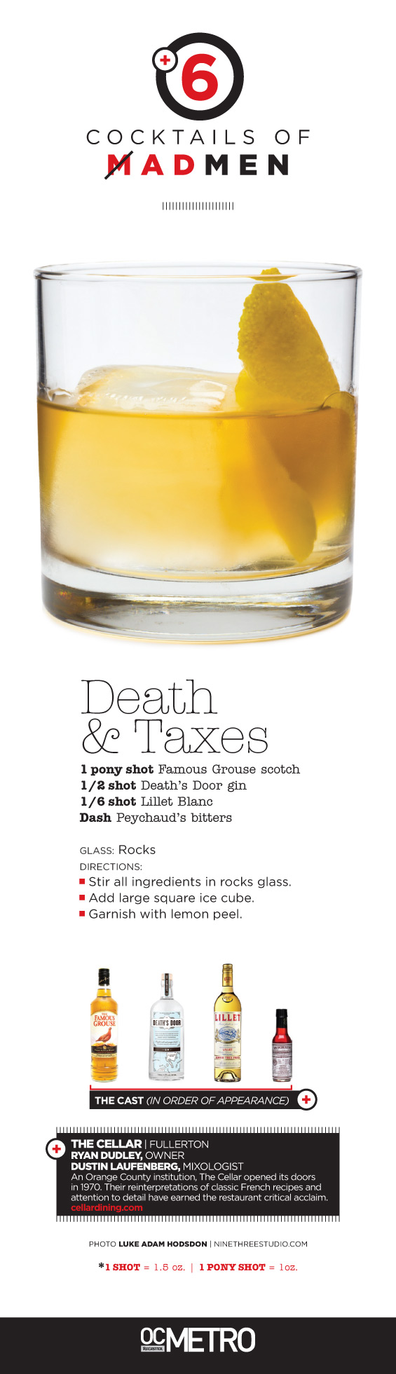 Death and Taxes cocktail made with gin, scotch and lillet blanc by Ryan Dudley at The Cellar in Fullerton. OC Register Metro #magazine Mad Men inspired cover story | #photo by Luke Adam Hodsdon