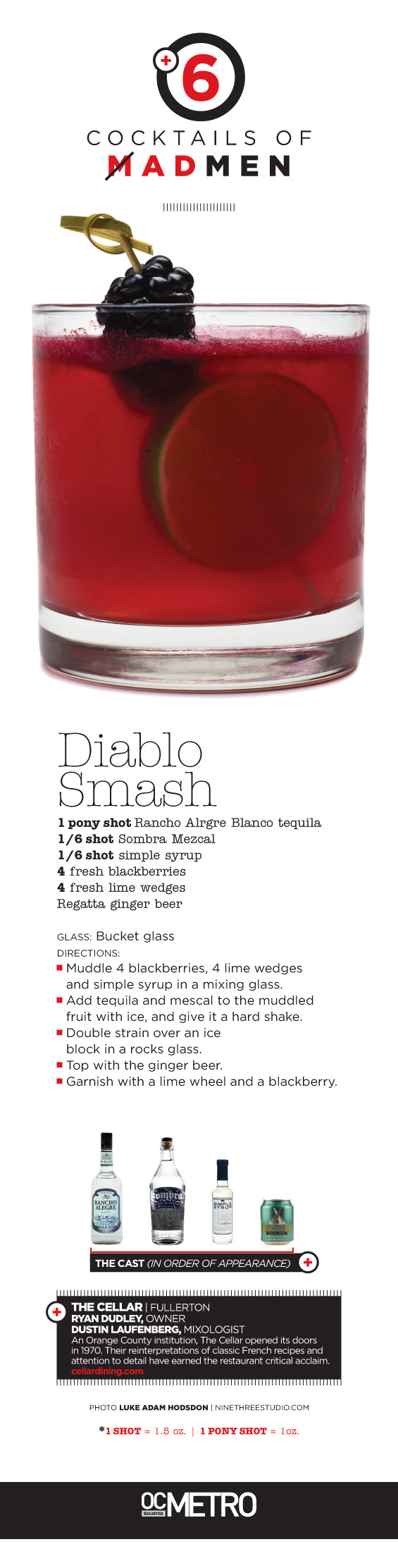 Diablo Smash cocktail recipe made with tequila, mezcal, simple syrup, blackberries, lime and ginger beer by Ryan Dudley at The Cellar in Fullerton. OC Register Metro #magazine Mad Men inspired cover story | #photo by Luke Adam Hodsdon